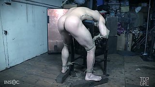 Wicked mistress London River covers her slave's legs in binder clips