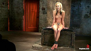 Hot Flexible Blond Suffers A Category 5 Suspension. Anal Hook, Heavy Nipple Weights, Made To Cum. - HogTied