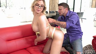 Nasty blonde Blair Williams seduces a lover for a sex session