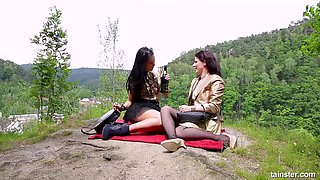 Alluring wild lesbian urinating on her babe outdoor