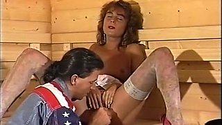 Insatiable classic redhead German chick in the sauna