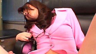Kinky boss examines hairy pussy of sensual Japanese secretary