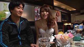 Putting his hand into Ayu Sakurai's panties to finger her cooch