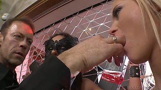 Submissive Russian chick Nataly Gold has to suck feet of slut and cock of stud
