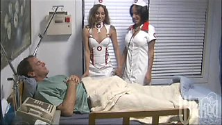 Kinky Nurses Giving A Sleeping Patient A Handjob