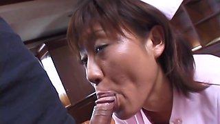 Reimi Aoi, sexy Japanese nurse gives patient a wild blowjob
