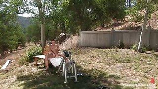 horny ladies fuck machines outdoors
