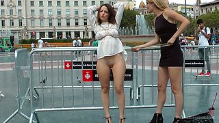 Nasty chick Nati Mellow is fucked by several hungry dudes in public