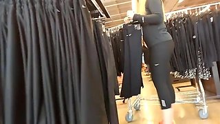 Beautiful blonde in leggings at work with round ass