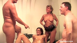 Stunning amateur babes are ready for a formidable foursome