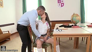 Brunette innocent schoolgirl seduced and fucked hard
