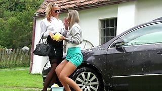 Babes get horny while washing car