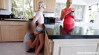 Hot Stevie Grey messes with her hung stepbro in front of her mom