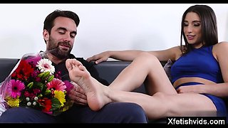 Hot sister foot fetish and cumshot