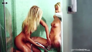 blonde lesbians shower
