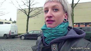 German Scout - Skinny Emo Teen Luna in Street Porn Casting