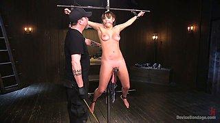 Bondage babe Charlotte Cross is punished with the help of vibrator