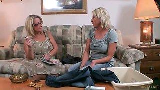 Grandma and mom teaching son