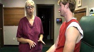 MILF nurse cumcovered while giving a handjob