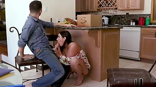 Angela White seduces her husband's young son in the kitchen