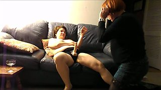 Submissive chubby hubby has to suck his fatso wife's strapon