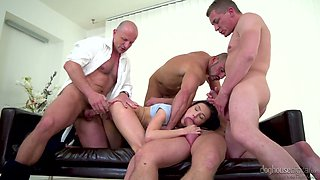 Four crazy dudes fuck one slutty chick Nicole Love right in the office