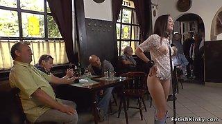 Euro slave sucks big cock in a pub