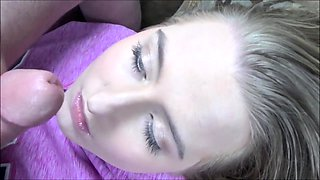 Sleeping blonde girl takes a hot cumload on her cute face
