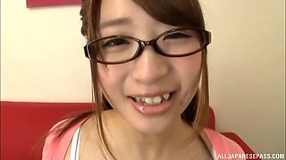 Nerdy Japanese girl Hatsumi Saki is ok with giving a blowjob to a stranger