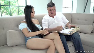 Sultry Asian babe Katana hooks up with one ugly fat old dude