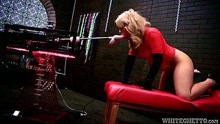 Devilish blonde MILF fucks sex machine