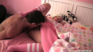 Teeny blonde princess Tracey Sweet works on Lee Stone's dick