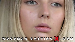 Skinny blonde babe on her first ever casting for porn