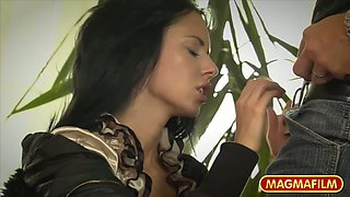 Alluring dark haired MILFie beauty lures dude for missionary style sex