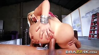 a stunning blonde babe with large boobs and perfect booty enjoys hard anal banging