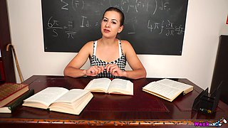 Tindra Frost is buxom tutor who loves to go solo right in the college