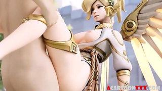 Sexy ass 3D babes Mercy and Dva riding huge dicks
