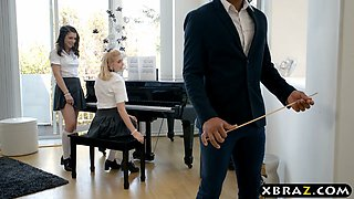 Teen piano students fuck a black teacher during the lesson