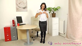 Charming secretary teasing with her fanny in the office