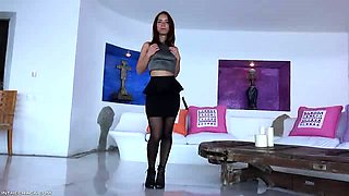 Horny brunette latina goes solo with fingers and toys