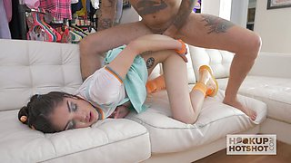 Kinky tattooed dude drills slutty pigtailed chick furiously