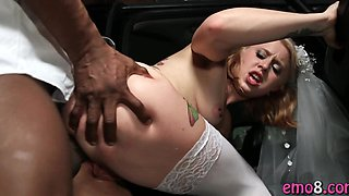 Blonde bride fucked anal by a black guy before her marriage