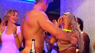 Noisy club party ends up with startling group sexy orgy