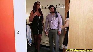 Redhead CFNM milf teaches maid cocksucking