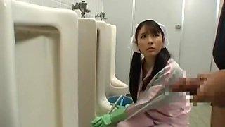 Bathroom attendant drinks piss