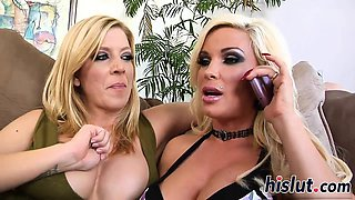Incredible threesome action with two blonde cougars