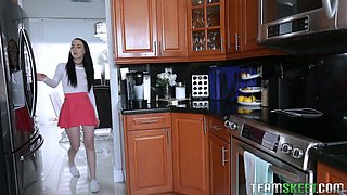 Sex-hungry step sister Bambi Black masturbates her nasty pussy in the kitchen