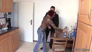 Stranger Seduce German Redhead MILF to Fuck for little help
