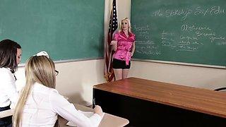 Lesbian teacher and teens
