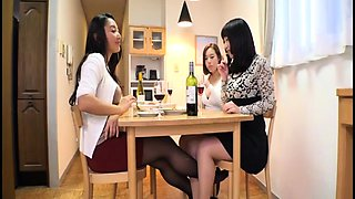 Lustful Japanese wives enjoy an intense lesbian experience